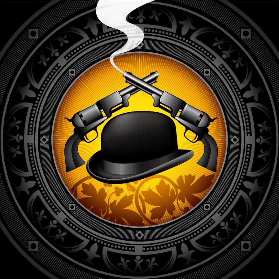 帽子と拳銃の背景 gentleman hat background イラスト素材