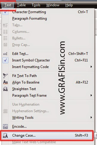 Menu Text Change Case di CorelDraw