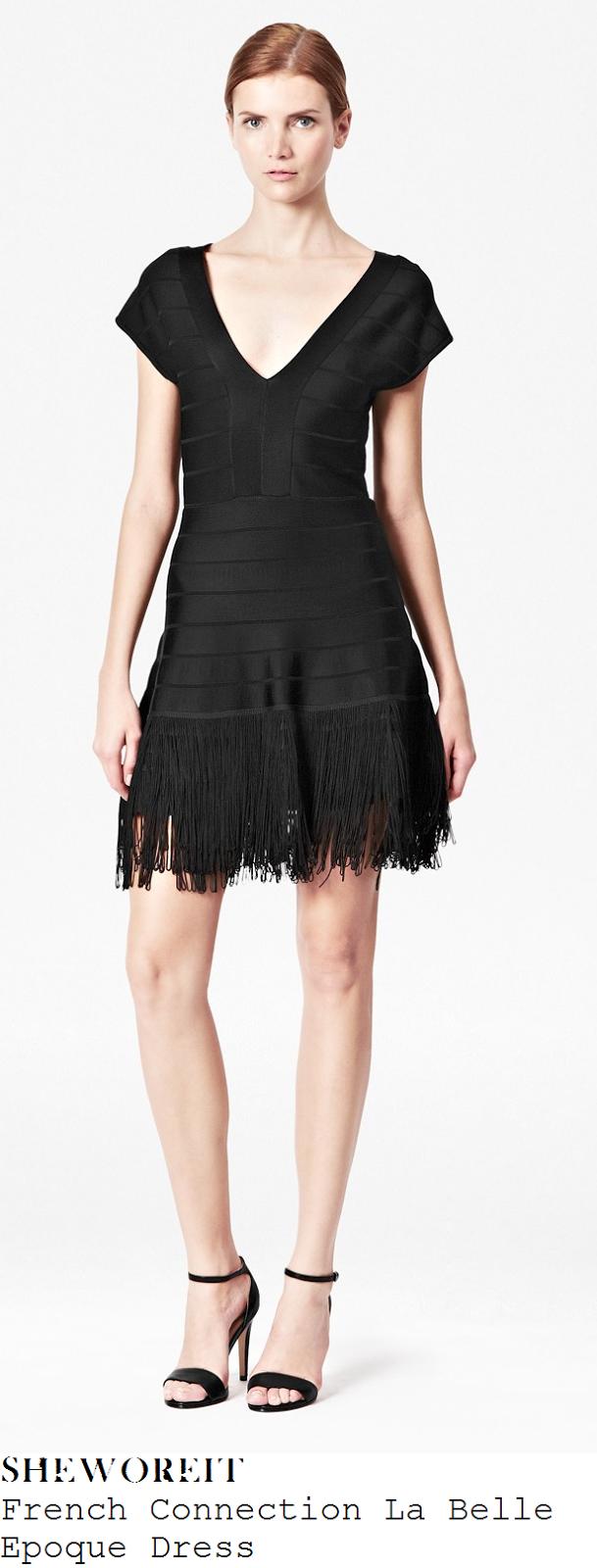 millie-mackintosh-black-v-neck-bandage-fringe-hem-mini-dress