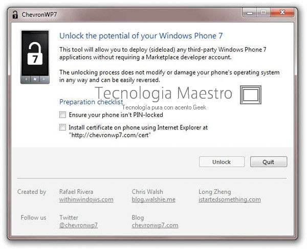 Hacer jailbreak a Windows Phone 7 con ChevronWP7