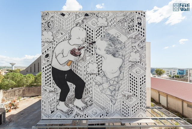 A few days ago, the Festi Wall Street Art Festival took place on the sunny streets of Ragusa, a city and comune in southern Italy where Millo created a new piece.