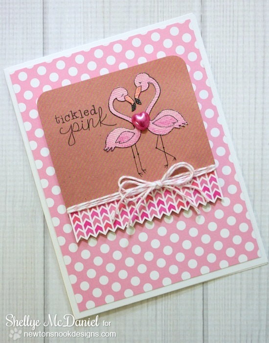 Pink Flamingo Card by Shellye McDaniel | Flirty Flamingos Stamp set | Newton's Nook Designs