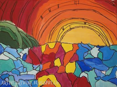 art lesson for kids Heather Brown Hawaiian art landscape
