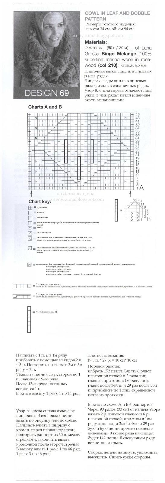 Схема для вязания трубу на голову