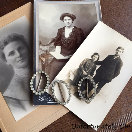 vintage photographs and diamante buckles