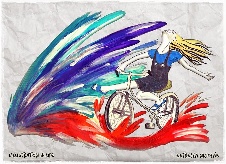 color, dibujo, ilustración, niña en bici, draw