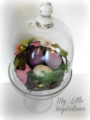Eggs nest glass cloche