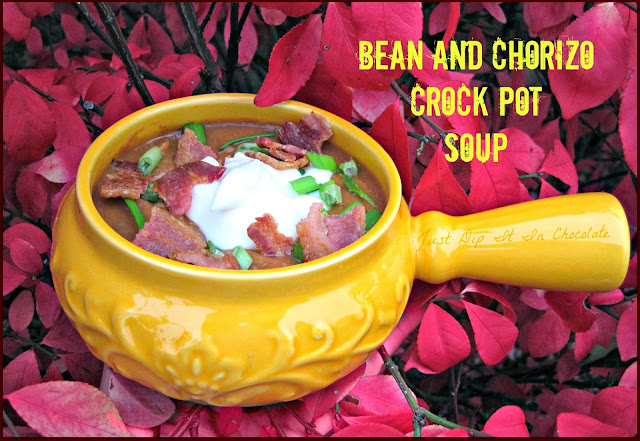 Bean and Chorizo Crock Pot Soup Recipe,  a stick to your ribs soup for those cold fall and winter nights, with the added extra kick of flavor from the chorizo! Delicious! #soups #crockpotmeal #fallsoups #wintersoups