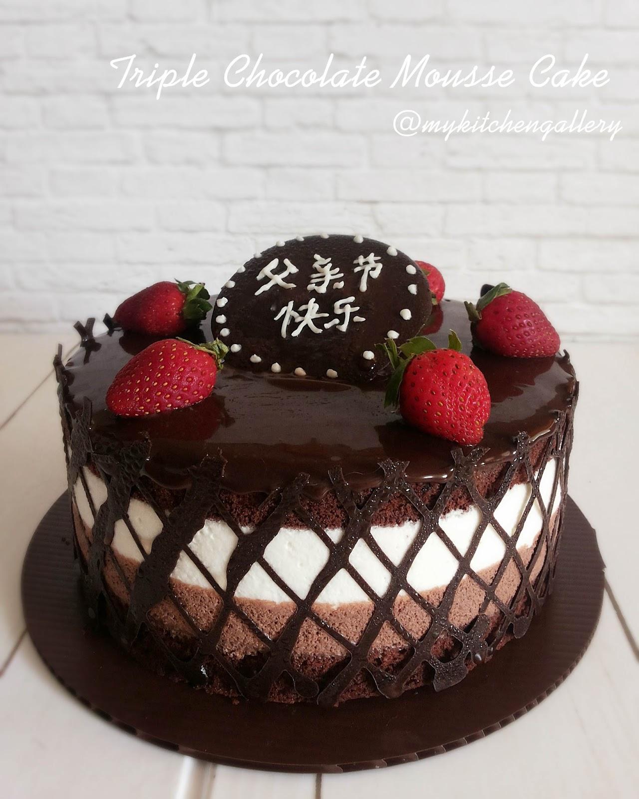 Lynn 39 s kitchen triple chocolate mousse cake - Mousse decoration ...