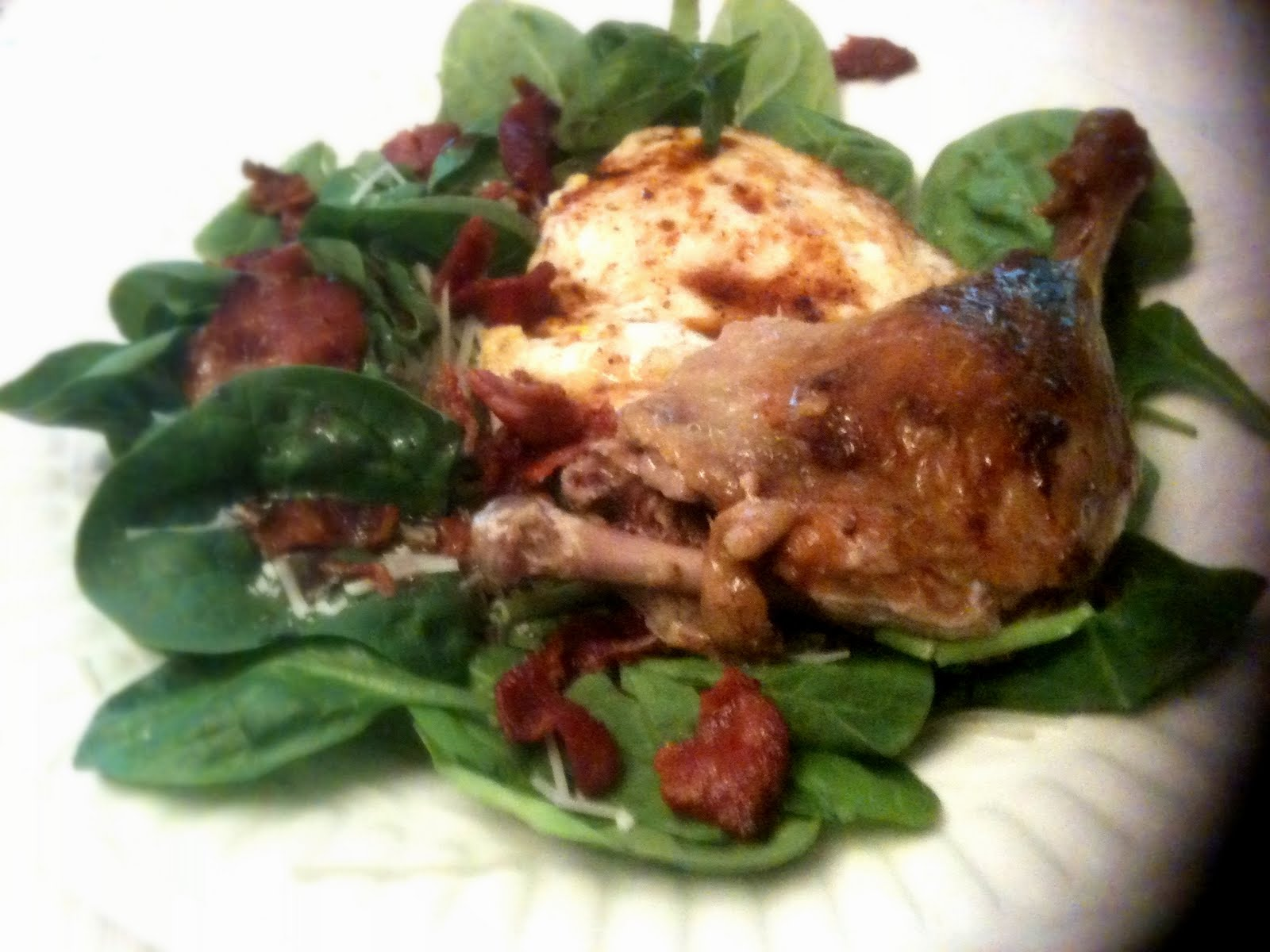 well on 6 a day crockpot week duck confit spinach salad with bacon fried egg swiss