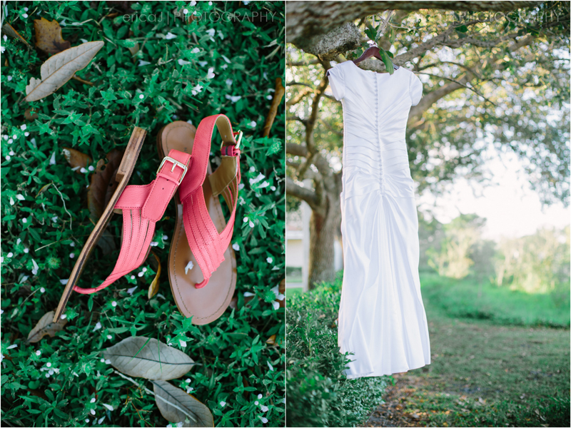 coral sandals wedding dress hanging in trees