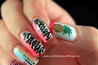 zebra pineapple nail art