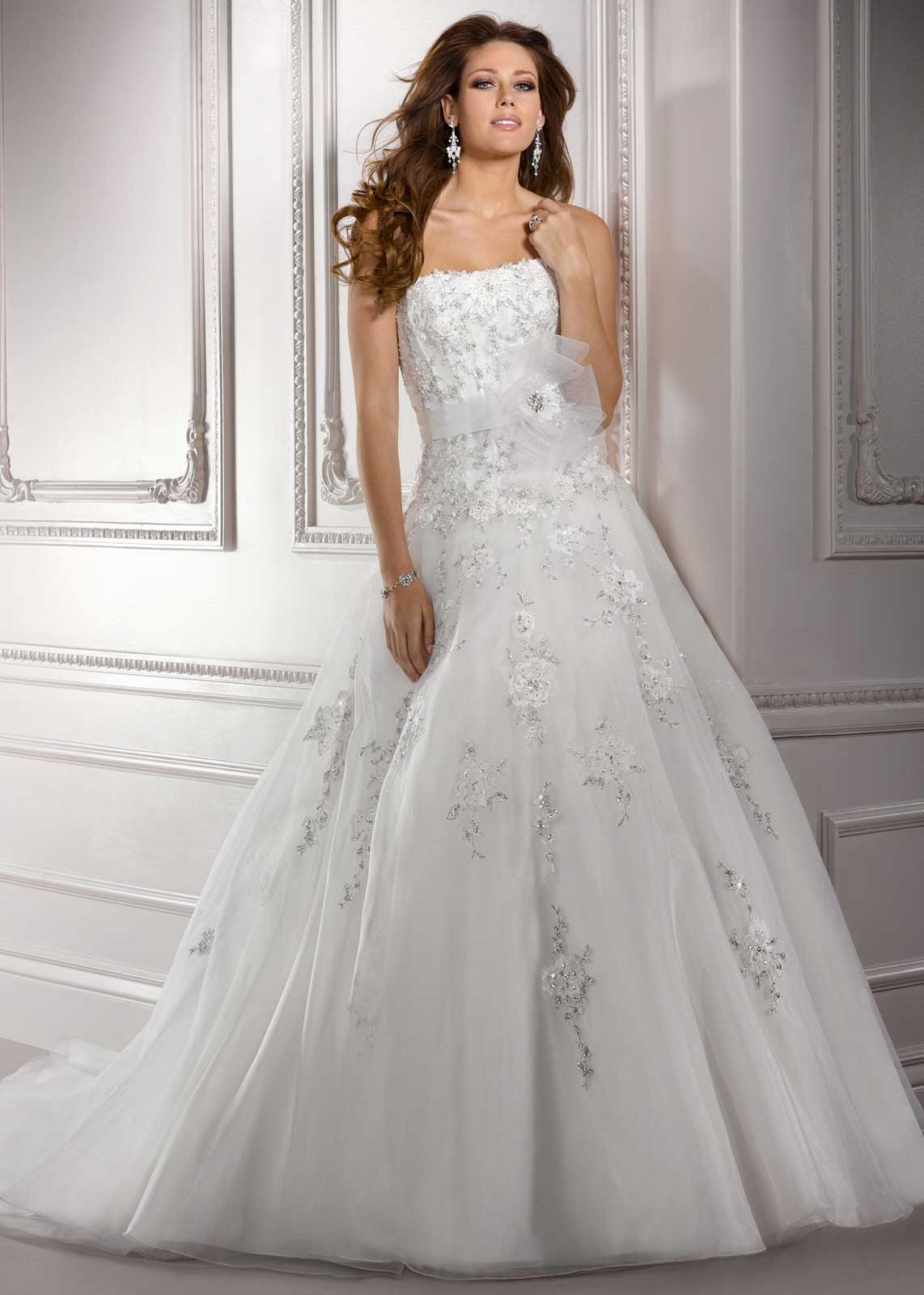 Organza & Strapless Neckline Ball Gown Wedding Dresses Photos HD Concepts Ideas