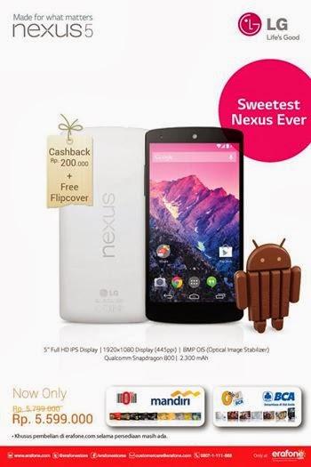LG Nexus 5 Cashback Rp 200.000 + Flip Cover