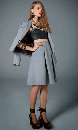 NK Store coleção inverno TalieNK 2014 conjunto de blazer saia e top de couro preto