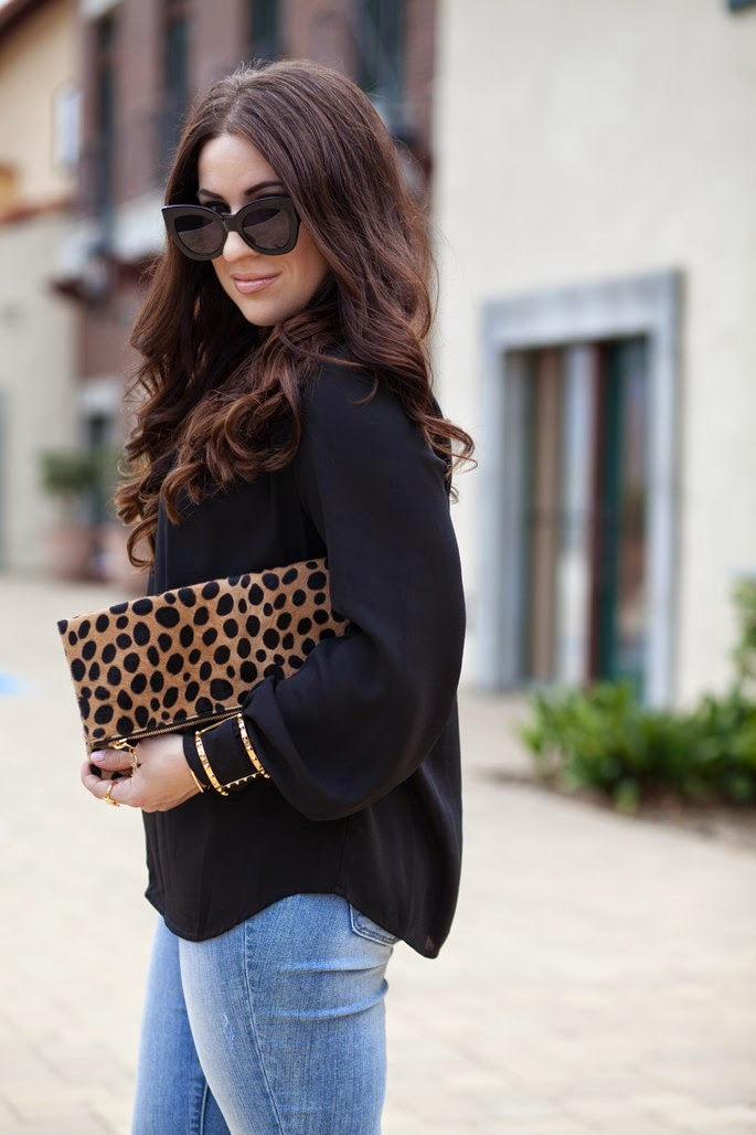 black and gold fall outfit, Karen Walker Northern Lights Sunglasses, Clare V. Leopard Clutch