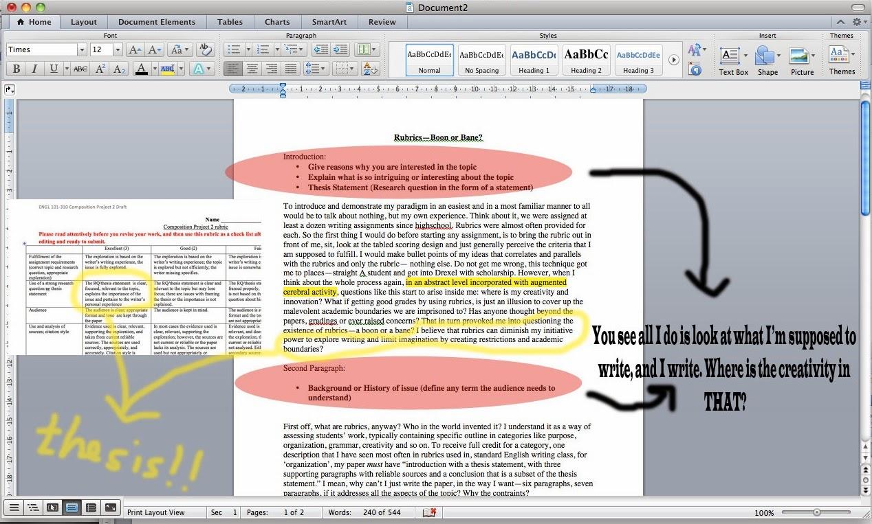 scoring rubric essays