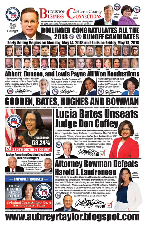 PAGE 1 - HOUSTON BUSINESS CONNECTIONS NEWSPAPER© RUNOFF ELECTION - PART 1 of 3