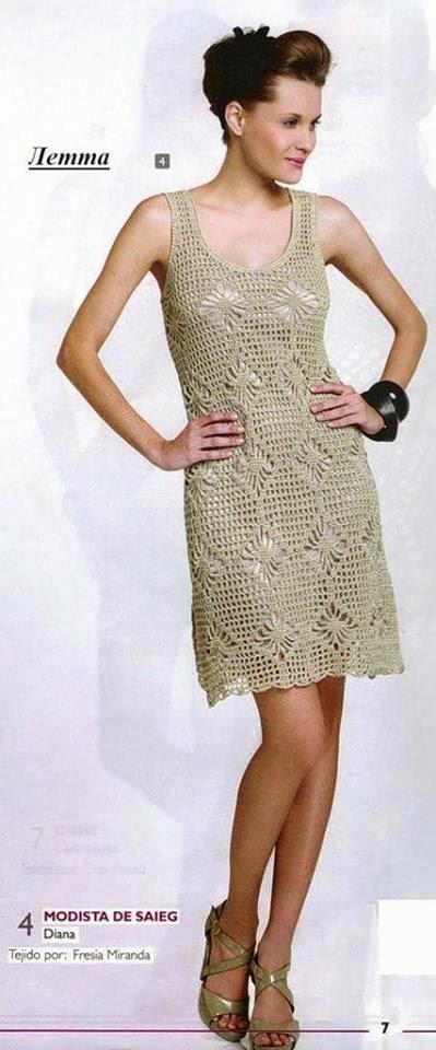 Vestido para dama tejido al crochet | Crochet y Dos agujas ...