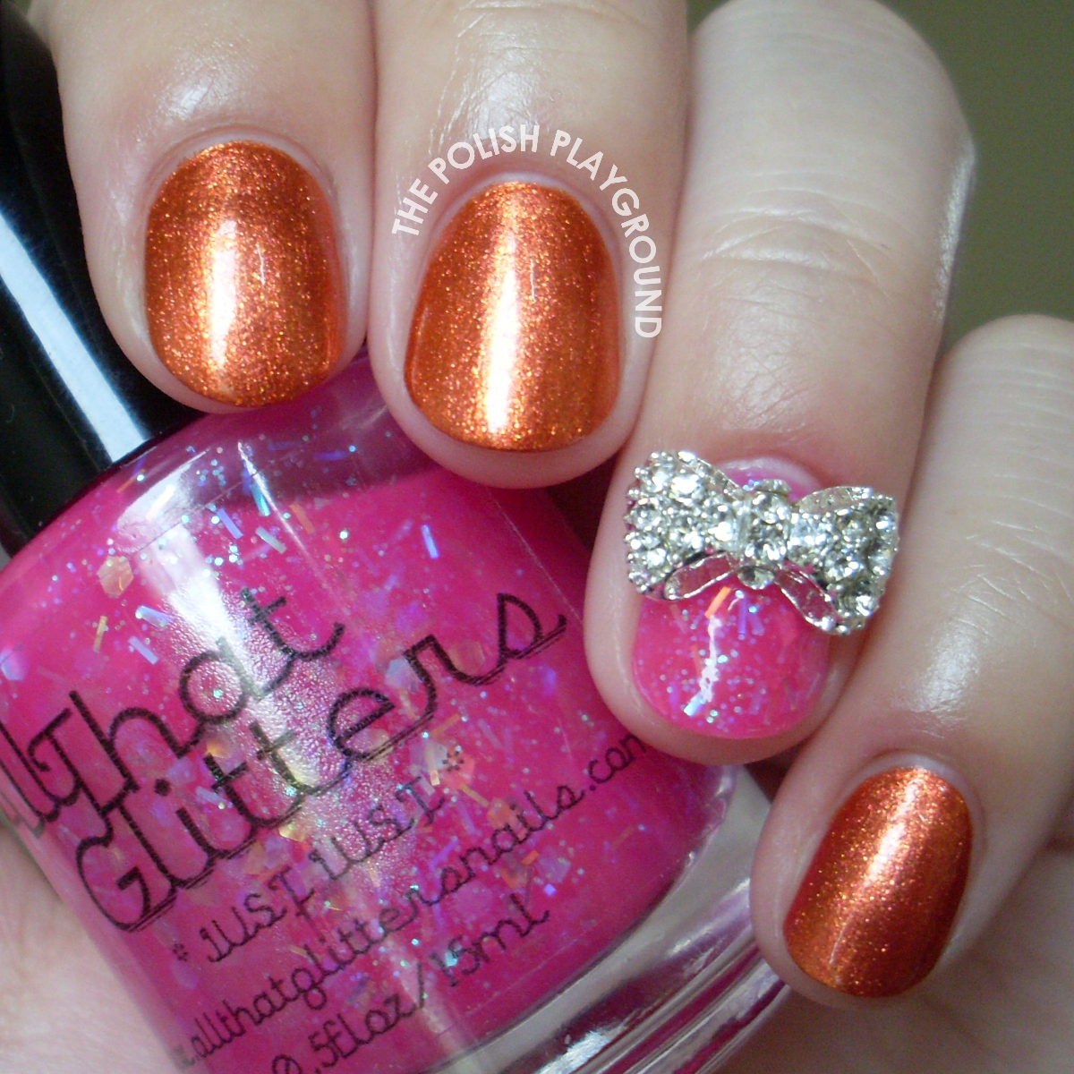 Burnt Reddish Orange Bronze Summer to Fall Transitional Polish with Bow Stud Nail Art