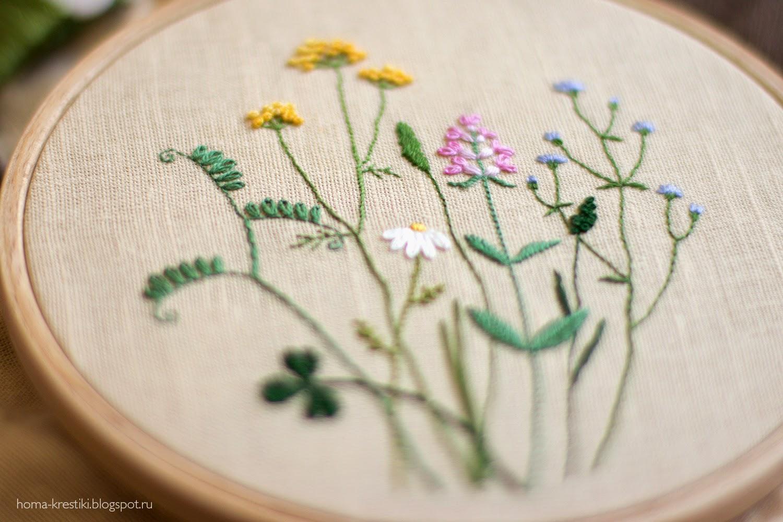 полевые цветы, kazuko aoki, вышивка, wildflowers