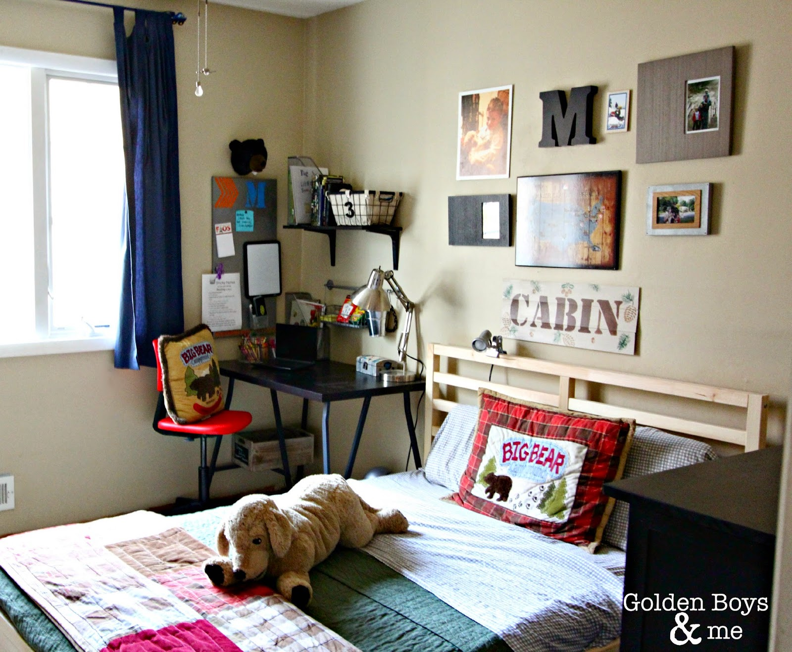 Boys bedroom with gallery wall and Ikea bed-.goldenboysandme.com & Golden Boys and Me: Easy \u0026 Affordable Boy\u0027s Bedroom