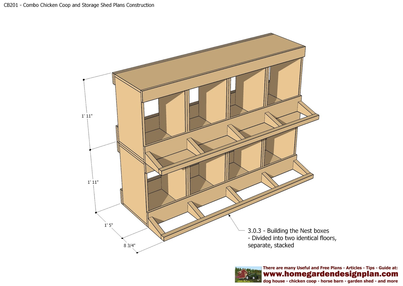 Home garden plans cb201 combo plans chicken coop for Plans chicken coop