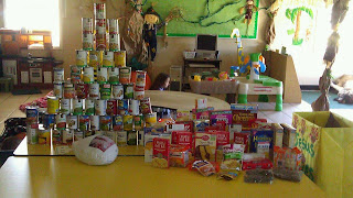 Image of materials donated for canned food drive