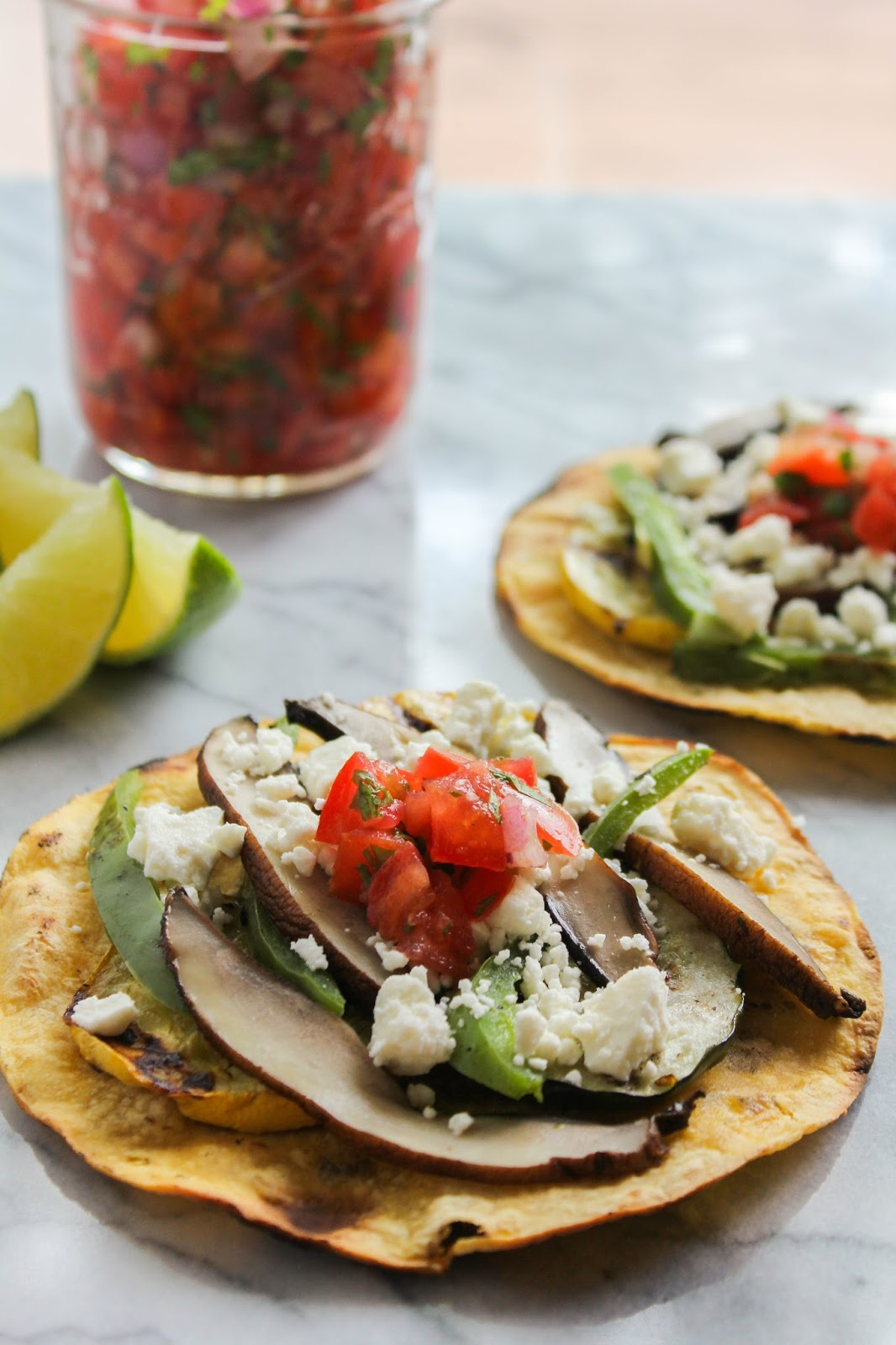 Grilled Vegetable Tostadas with Feta and Fresh Tomato Salsa