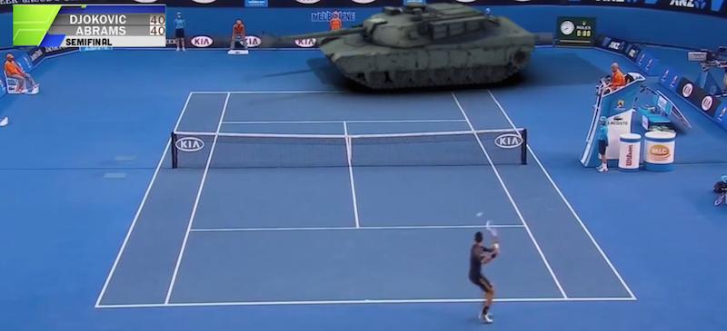 Video - Nur ein Panzer der bei den Australien Open gegen Novak Djokovic Tennis spielt - Atomlabor Blog Webtrash