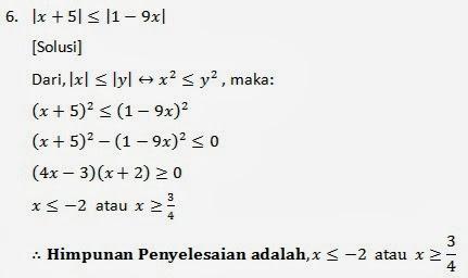 Pertidaksamaan Nilai Mutlak Belajar Matematika Online