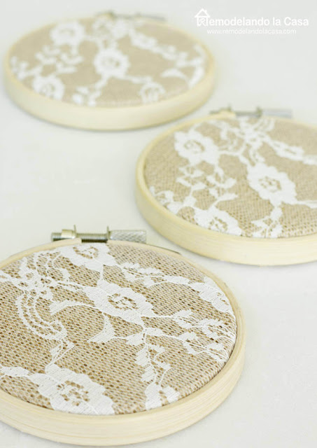 3 inch bamboo hoops - burlap and lace fabric
