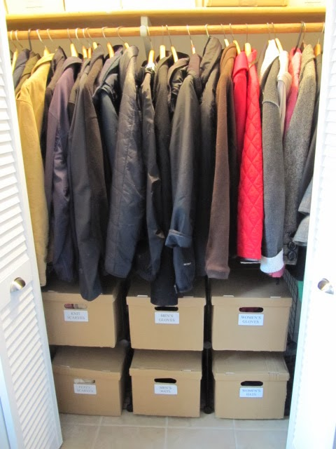 organized winter coat closet