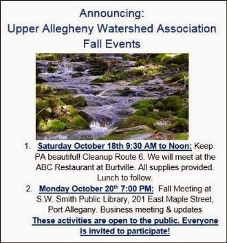 10-20 Upper Allegheny Watershed Events