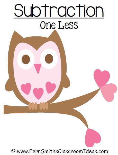 Fern Smith's Classroom Ideas Freebie Friday ~ St. Valentine's Day Subtraction One Less {Minus 1} Center Games at TeacherspayTeachers.