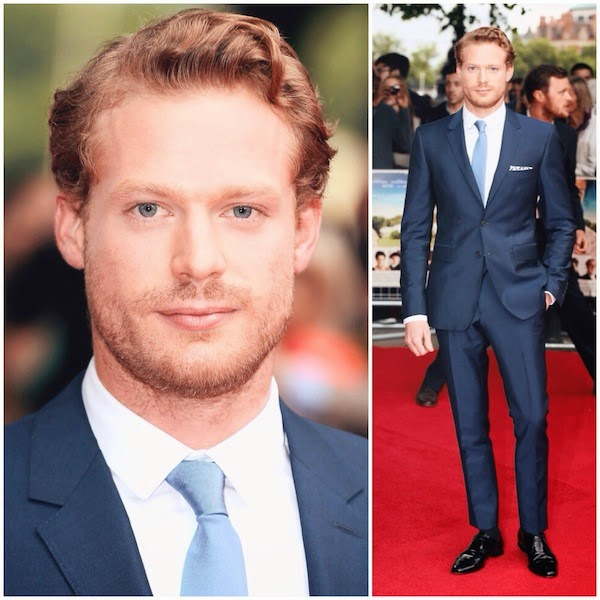 Sam Reid Burberry suit 'Belle' UK Premiere