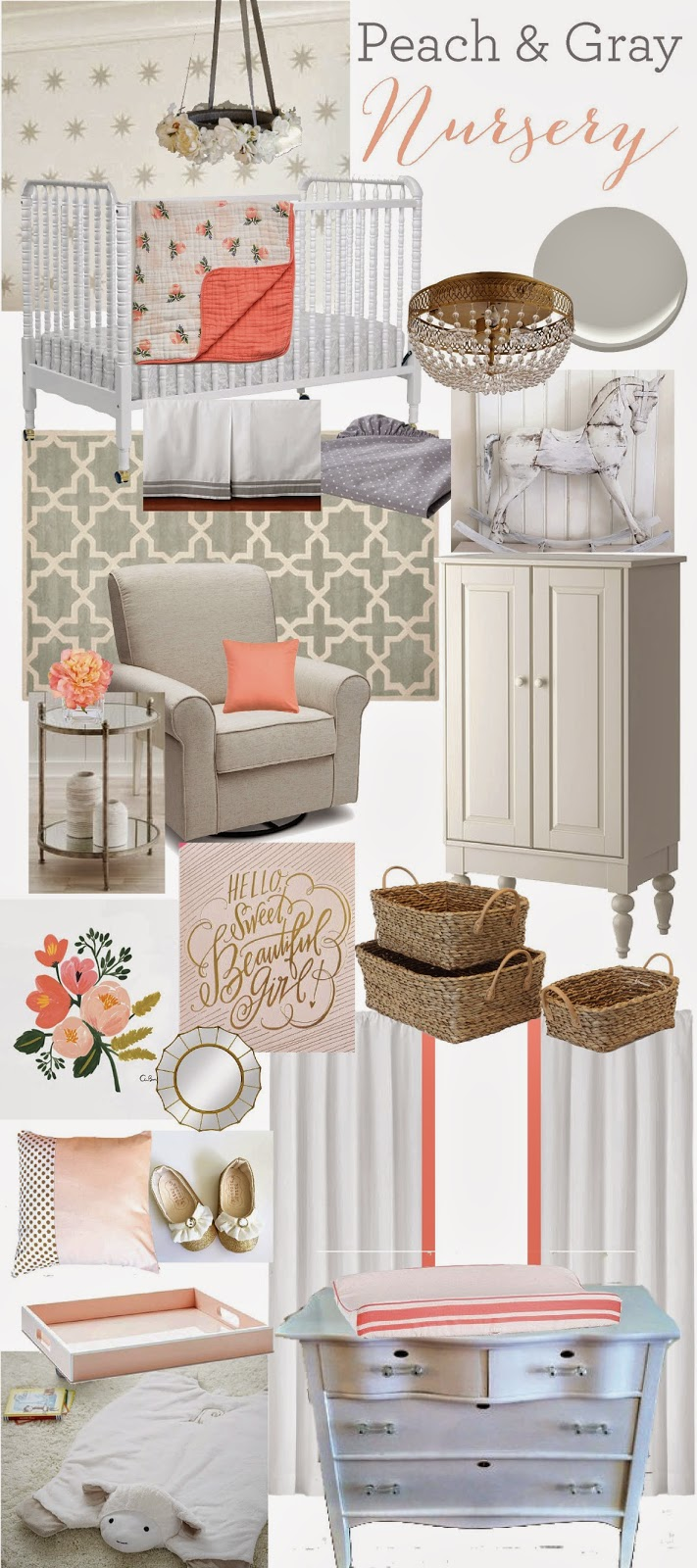 12th and white peach gray nursery our baby girl. Black Bedroom Furniture Sets. Home Design Ideas