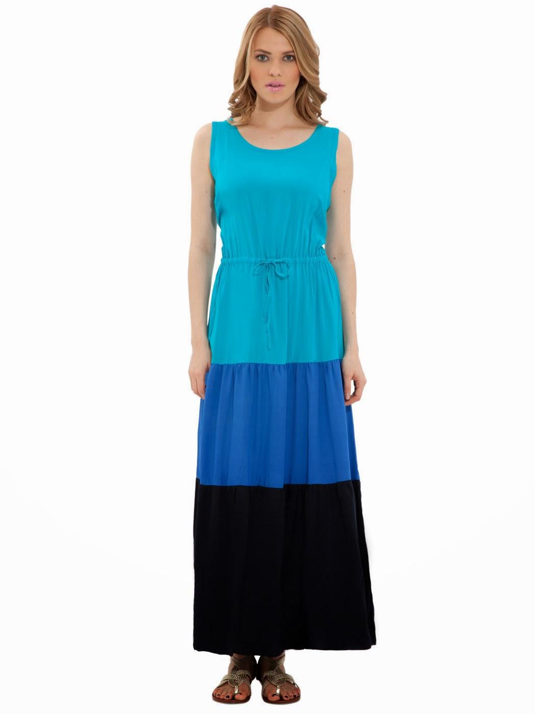mavi siyah uzun elbise, günlük elbise, 2014 elbise modeli