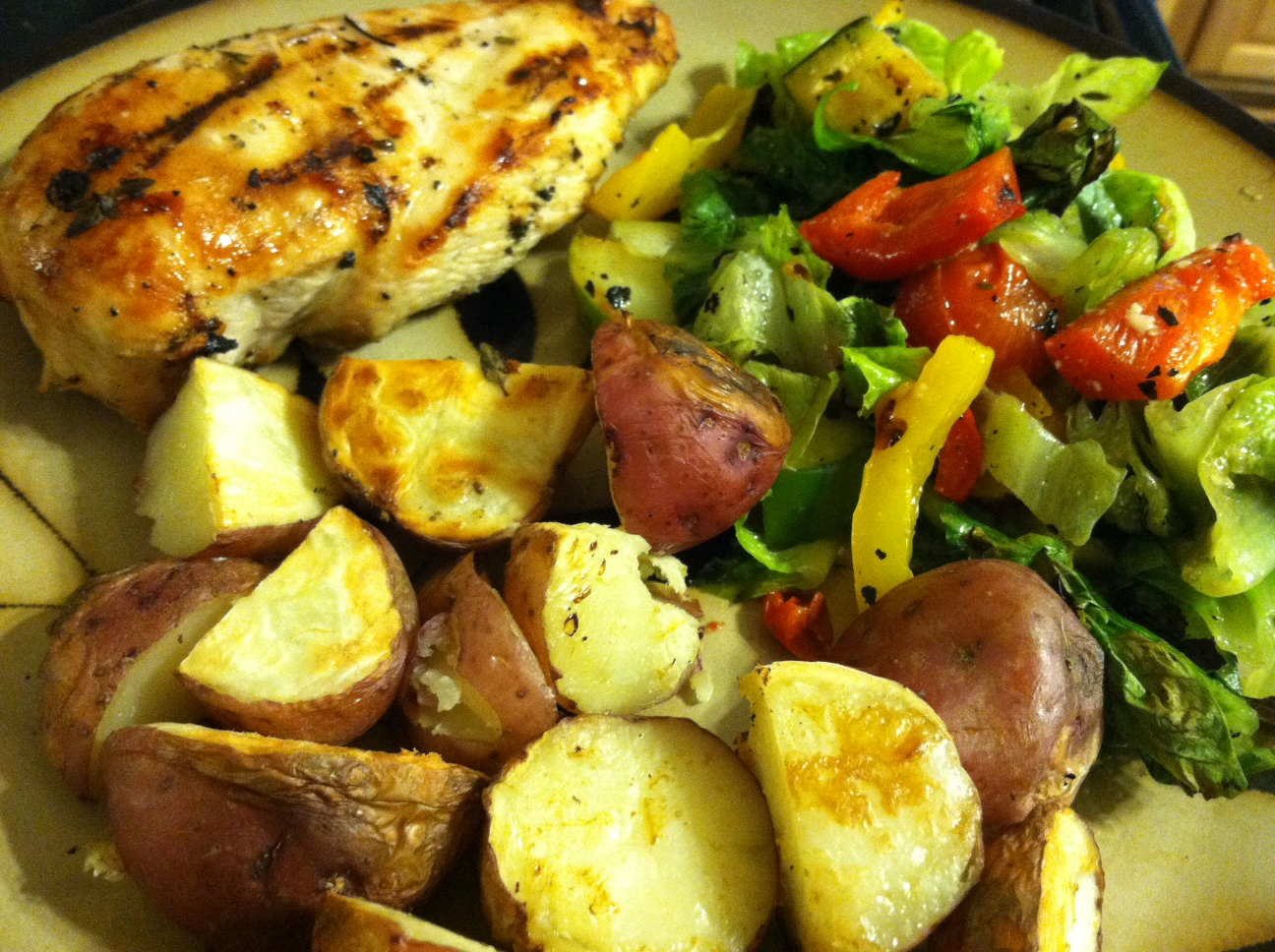 ... on the Grill: Garlic Marinated Chicken Cutlets with Grilled Potatoes
