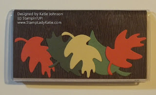 Plastic checkbook cover decorated for Fall using Stampin'UP!'s Leaf Die and Frostwoods Lodge Paper