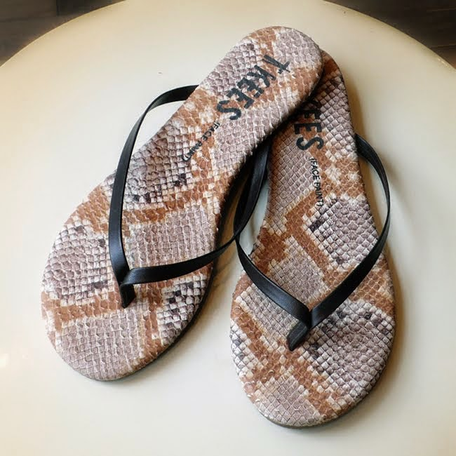 Flirty flip flops from TKEES at P. 45.