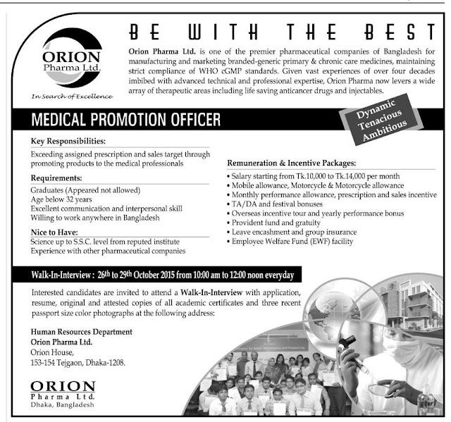 Post: Medical Promotion Officer | Organization: ORION Pharma Ltd