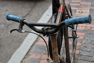 Single speed bicycle bike boylston st boston usa the biketorialist oury grips bmx style handlebar rust track frame