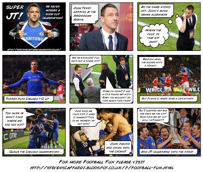 John Terry, Chelsea, Europa League, Photobomb, celebration, photoshop, John Terry celebrating in kit, funny celebration, John Terry full kit,