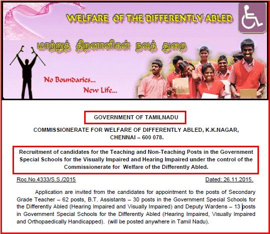 Tamil Nadu-TN Welfare of the Differently Abled Latest Teaching & Non Teaching Jobs Advertisement