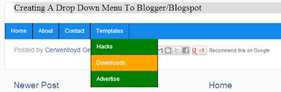 adding drop down menu in blogger