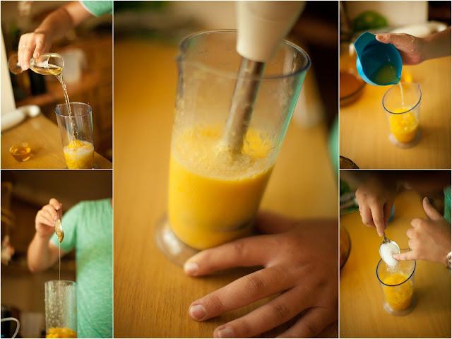 Шампанское, персики, мед, лимон и ванильный сахар