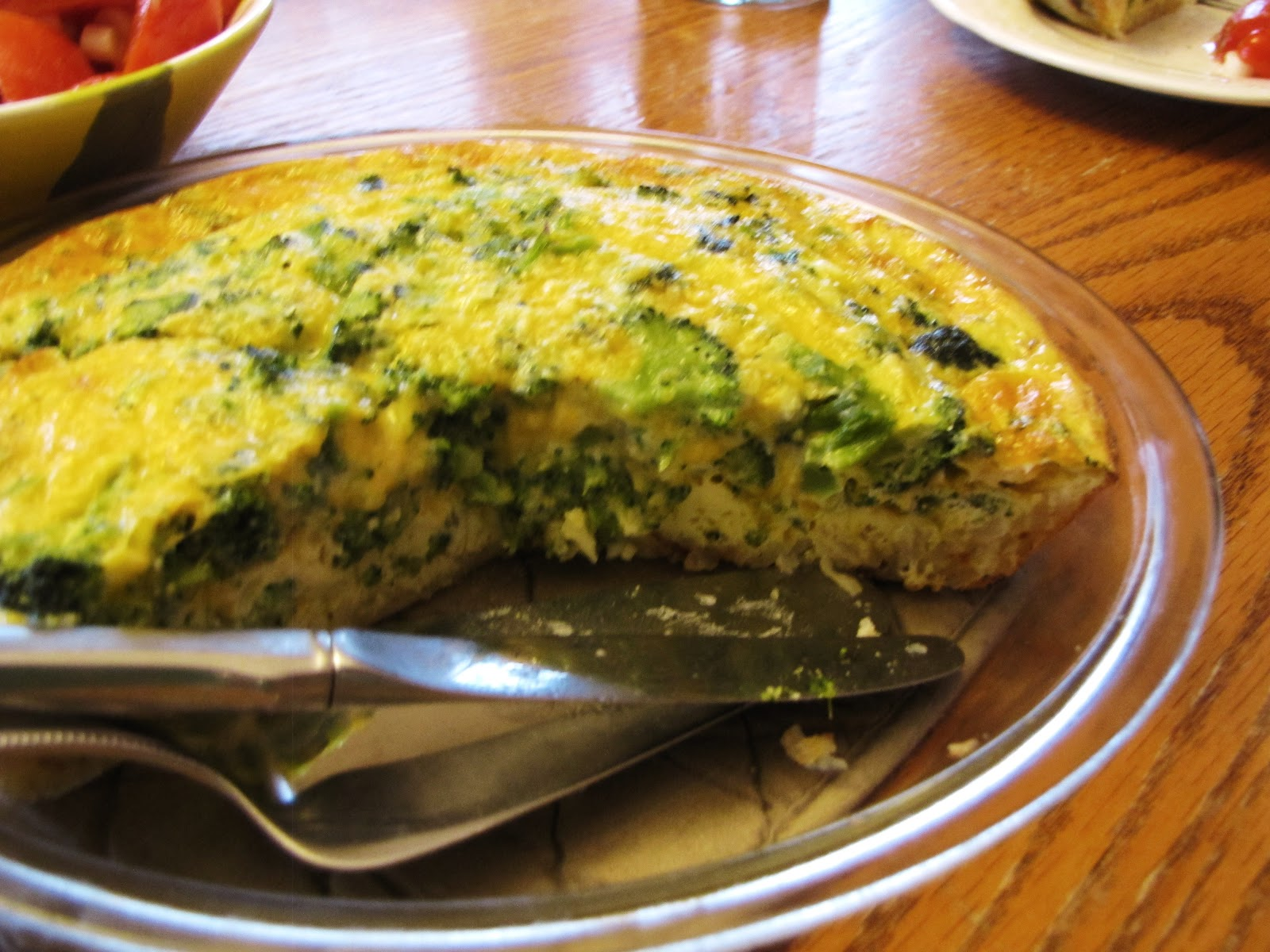 made broccoli omele t with tomato salad the broccoli omelet was really ...