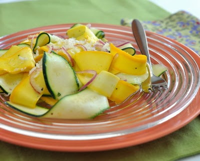 Simple Zucchini Ribbon Salad ~ ribbons of small, young summer squash tossed in a simple vinaigrette ~ low-carb, low-cal, gluten-free, vegan and for Weight Watchers, just PointsPlus 2 ~ AVeggieVenture.com