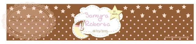 rotulo personalizado festa do pijama poa marrom e rosa